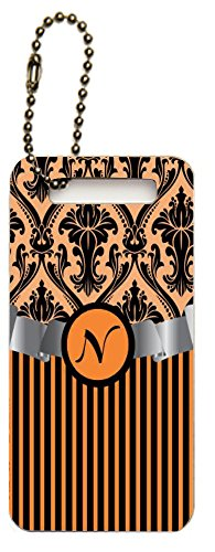 "Rikki Knighttm Letter ""N"" Initial Orange Damask And Stripes Monogrammed Design Luggage Tags (Set Of 2) front-615272"