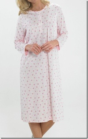 Ladies Long Sleeve Jersey Nightdress Cream or Pink Sizes 12 to 26