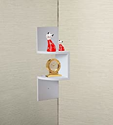 White Finish Corner Zig Zag Wall Shelf