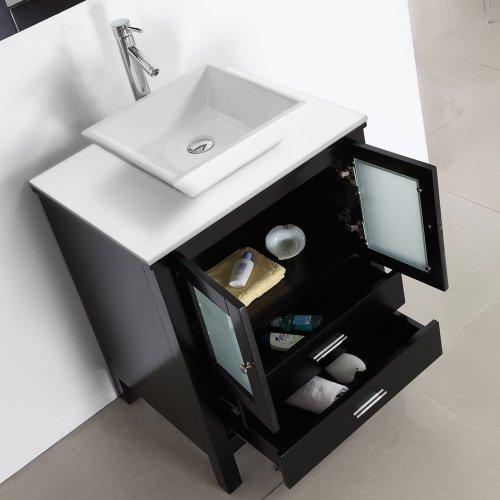 Virtu Usa Ms 4428 S Es Brentford 28 Inch Single Sink Bathroom Vanity Set With White Stone
