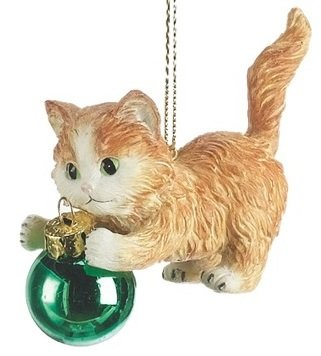 Kitten Playing with ornament Cat Christmas Tree Ornament
