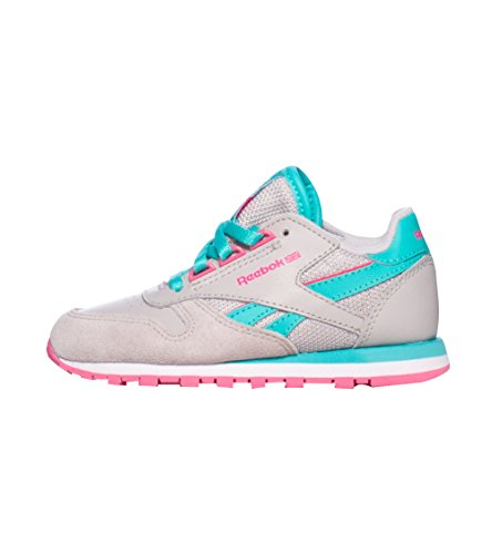 Reebok Classic Leather Running Shoe (Infant/Toddler/Little Kid/Big Kid),Steel/Timeless Teal/Happy Pink/White,4 M Us Toddler front-884873