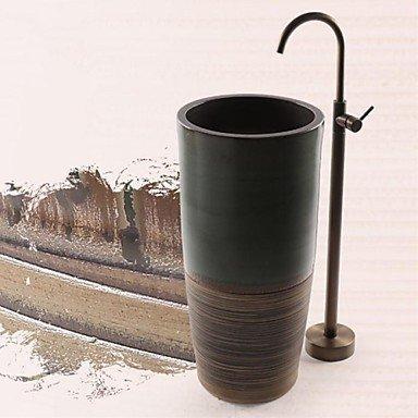 XVDASSD DF massiv Messing antik Boden Stehend Waschtisch mit Sockel faucet- Messing antik Finish