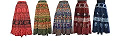 PMS Cotton Multi Color Wrap Around Woman's Skirts Combo Pack Of 5 (Assorted Design & Assorted Color)