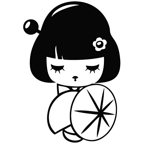 japanese-doll-furisode-cartoon-decal-15-cm-nero-vinile-removable-decorative-sticker-for-wall-car-ipa