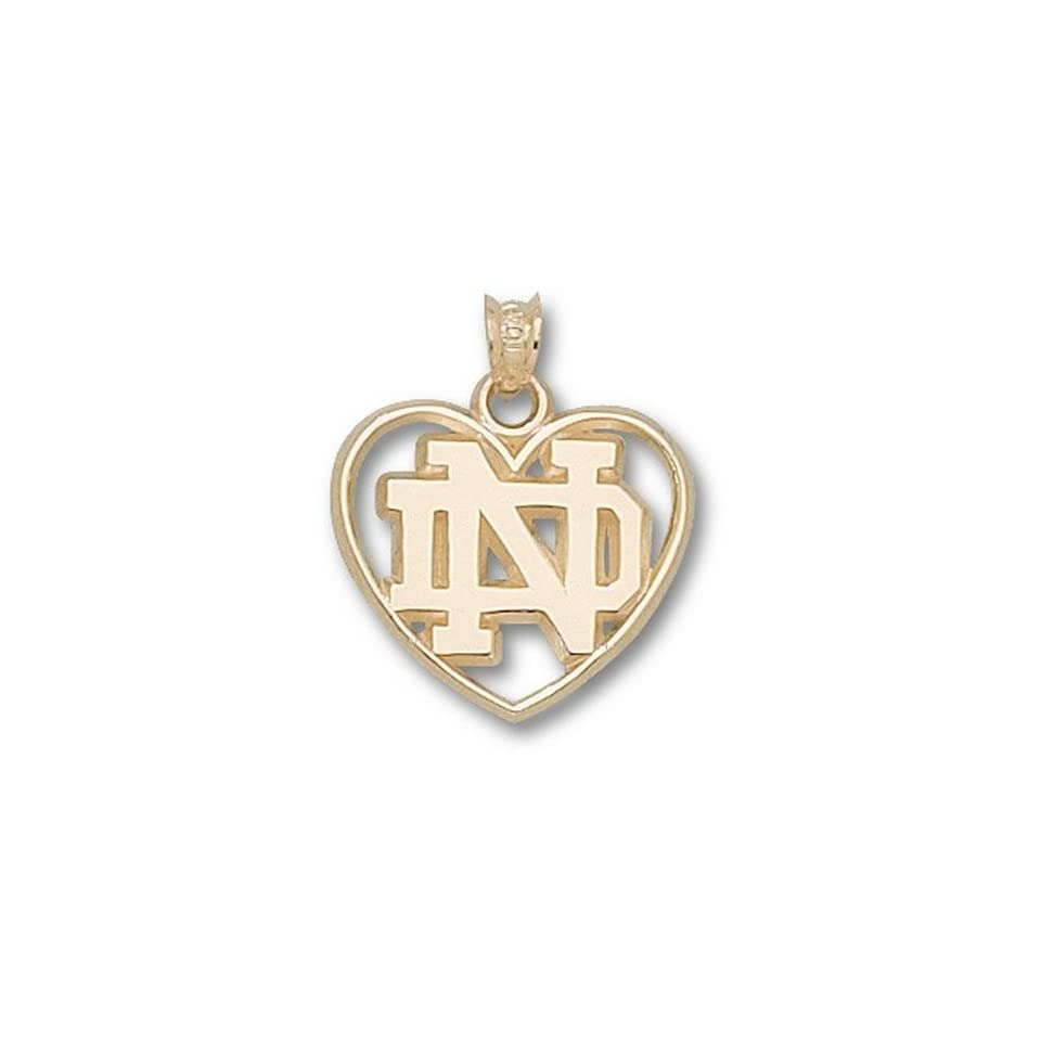 Notre Dame Fighting Irish ND Heart Pendant   10KT Gold Jewelry
