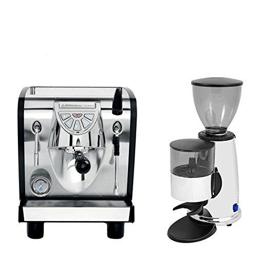Nuova Simonelli Musica Black Plumbed Free Installation Programmable Espresso Coffe Machine & Macap M2C83 Chrome Doser Grinder