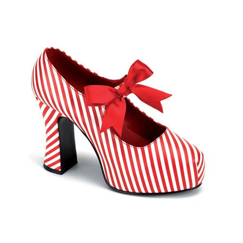 Candy Striper Costume Shoe 4 Inch Heels Red and White Stripe Bow
