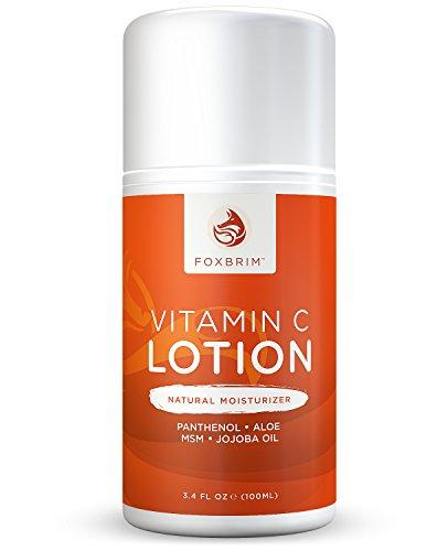Vitamin C Lotion - Natural Face Moisturizer - POWERFUL Antioxidants Vitamin C & Green Tea - Hydrating Jojoba Oil, Shea Butter - Restoring Panthenol & MSM - Foxbrim 3.4