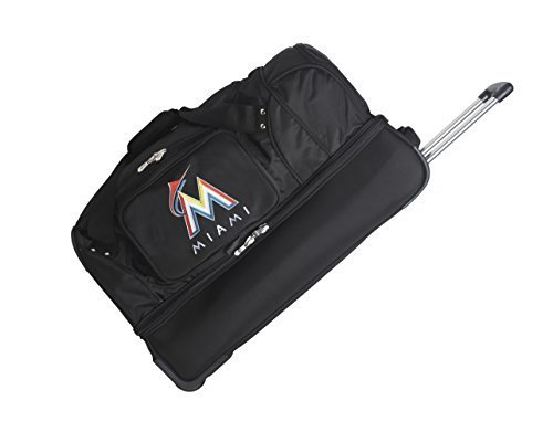 mlb-florida-marlins-denco-27-inch-drop-bottom-rolling-duffel-luggage-black-by-concept-one-accessorie