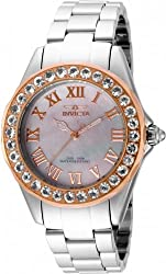 Invicta 16129 Women's Angel Blush Quartz Morganite Bezel Stainless Steel Bracelet Watch