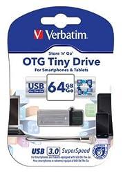 Verbatim Store'N' Go Otg Tiny Usb 3.0 Drive 64 Pen Drive (Silver)