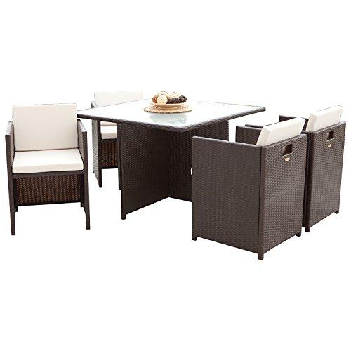gartenmoebel-einkauf Lounge Garnitur VERONA 13-teilig, Metall + Polyrattan dunkelbraun, Polster creme