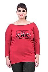 Red Drop Shoulder Sequined T-Shirt
