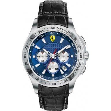 Scuderia Ferrari 0830041 830041 - Reloj para hombres, correa de cuero color negro