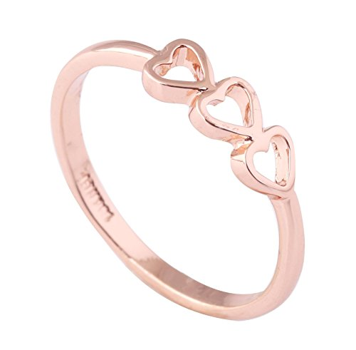 Acefeel Fashion Cheap triple Heart Gold Plated Valentine's Day Gift R001 Size 9 (Heart Gold Ring compare prices)