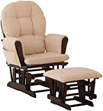 Stork Craft 06550-419 Hoop Glider and Ottoman Set (Espresso/Beige)