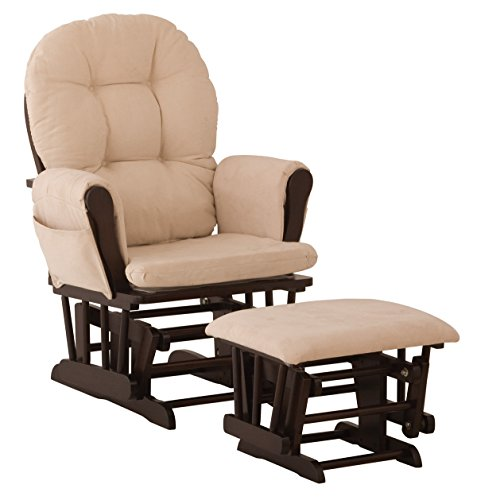 Stork Craft Hoop Glider and Ottoman Set, Espresso/Beige