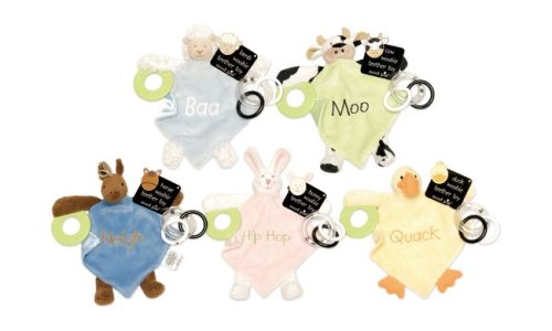 Mud Pie Baby Eieio Animal Teethers Pink Bunny