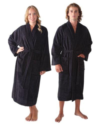 Women's and Men's Kimono-Bathrobe [Style Atlantis] - 100% Cotton, Large, Black