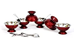 Dynore set of 12 Maroon stainless steel ice cream cup and spoon set- 6 each
