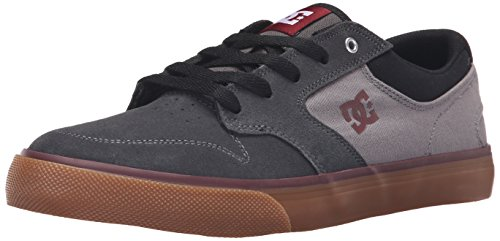 DC Men's Argosy Vulc Skate Shoe, Charcoal/Black/Red, 9 M US