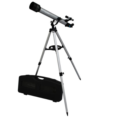 Silver Twinstar 60Mm Refracting Telescope / 175X Magnification / Built-In Compass / 3 Different Eyepieces / Hard Plastic Carrying Case