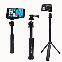 Fotomate® Universal Compact Mini Aluminum Tripod-Momopod In One Stand Three Legs Support Multi-purpose Tablepod for Digital Video Digital Camera Pocket Camera Canon / Sony / Nikon Flash Bracket Gopro Hero 3+/3/2/1 With 1/4 Inch Tripod Adapter And Aluminu