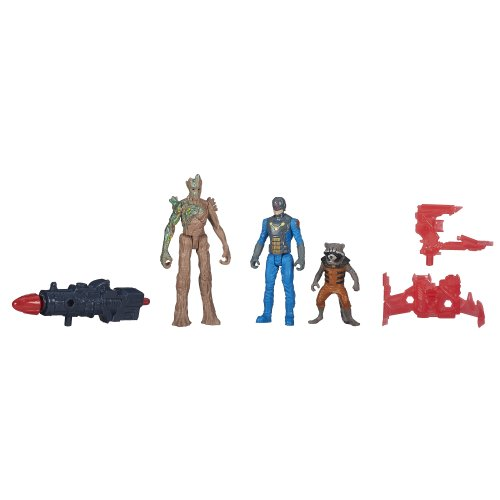 Marvel Guardians of The Galaxy Groot, Rocket Raccoon and Nova Corps Officer Figure - 1