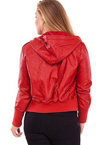 Ladies Plus Size Red Hooded Synthetic Leather Jacket Ribbed Sleeves Hem