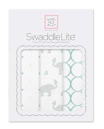 SwaddleDesigns SwaddleLite, Mod Elephants Lite (Set of 3 in SeaCrystal)