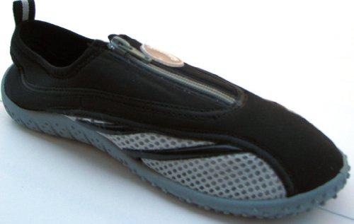 Aquatik Men and Women Aqua Water Shoes Beach Shoes with Zipper closure AD3316L Women 8 Black