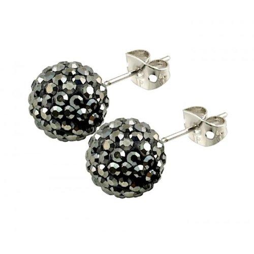 Tresor Paris 'Bissey' Grey Crystal Earrings, 10mm