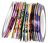 CyberStyle(TM) 30Pcs Mixed Colors Rolls Striping Tape Line Nail Art Tips Decoration Sticker from Y2B
