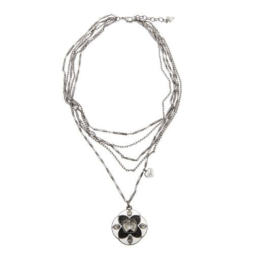 Guess Ubn91001 Silver-Plated Metal Cubic Zirconia Necklace With Pendant