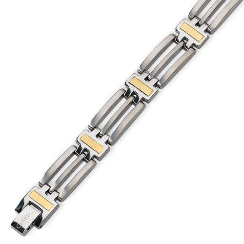 Men's 24K Gold Overlay and Titanium Bracelet