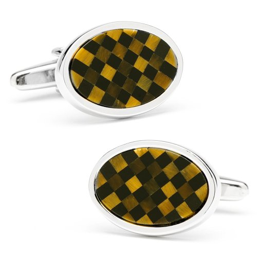 Ox And Bull Mens Plated Oval Checkered Tigers Eye & Onyx Cufflinks