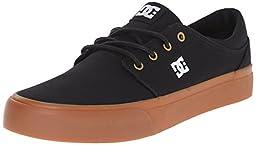 DC Trase TX Unisex Skate Shoe, Black/Gold, 10 M US
