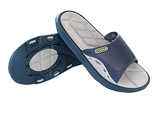 Slip On Pantofole Doccia Antiscivolo Sandali House Mule Mesh Uppers Scarpe piscina bagno Slide per adulti, Blue, 8.5 UK