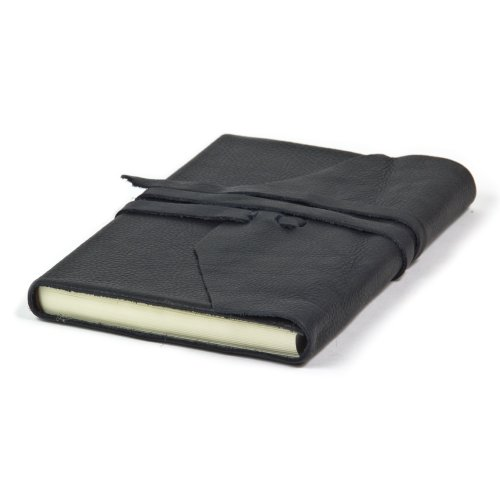 Deluxe Leather Journal Hand Made In Italy, 6x8 inch (Black)