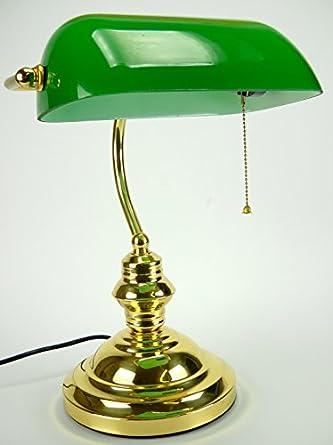 lampada da tavolo stile america da studio in ottone lucido vetro verde ...