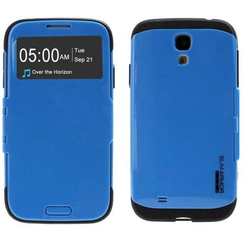 Kapa Armor S View sensor Anti shock Flip Case Cover for Samsung Galaxy S4 - Blue