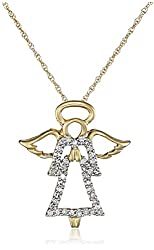 "14k Yellow Gold Diamond Angel Pendant (1/8 cttw, I-J Color, I2-I3 Clarity), 18"""