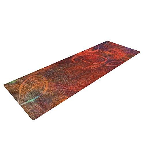 "Kess InHouse Nikki Strange ""Tie Dye Paisley"" Yoga Exercise Mat, Orange/Red, 72 x 24-Inch"