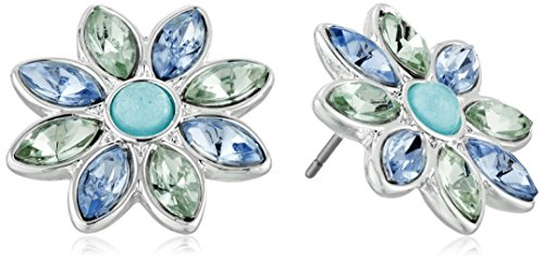 Nine West Petal Power Silver-Tone and Blue Flower Button Stud Earrings