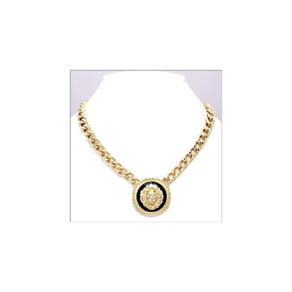 Rihanna Celebrity Inspired 18L Gold Chain Link 1.5 W Lion Head Necklace