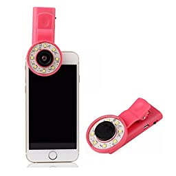 Cyxus Clip Mini Spot Selfie Fill LED Light [Adjustable Brightness] [3 Filter] Portable Round Ring Flash [Wide-angle Lens] Night Spotlight for Any Cell Phone Apple iPhone 6s/6/6 Plus (Pink)