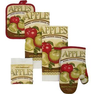 Amazon.com - APPLE KITCHEN 7 PIECE TOWEL, OVEN MITT AND POT HOLDERS -