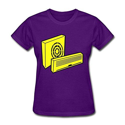 Large Custom Women T Shirt Air Conditioner_c1 Purple Pattern