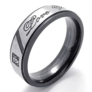 """Konov Jewellery Lover's Polished Titanium Stainless Steel Promise Ring """"Love You"""" Couples Engagement Wedding Bands, Valentine's Gift for Him and Her, Colour Black Silver, Mens Ring, Size R (with Gift Bag)"""